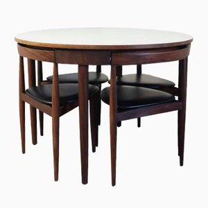 Mid-Century Roundette 630 Dining Table & Chairs by Hans Olsen for Frem Røjle, 1950s
