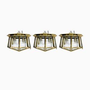 Austrian Hand-Cut Ceiling Lights, 1900s, Set of 3