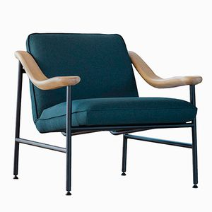 H. Russell Armchair with Oak Armrests by Studio Brichet-Ziegler for Versant Edition