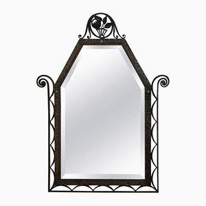 Art Deco Wrought Iron Wall Mirror, 1930s