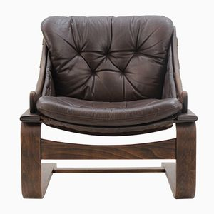 Scandinavian Bentwood Leather Lounge Chair, 1960s