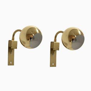 Mid-Century Norwegian Brass Wall Lamps by Steen & Strøm AS, 1960s, Set of 2