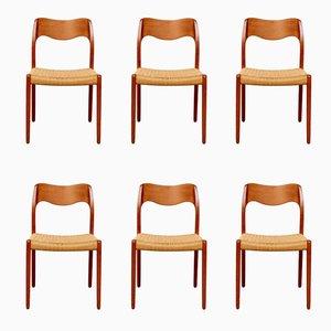 Model 71 Dining Chairs by Niels O. Møller for J.L. Møllers, 1950s, Set of 6