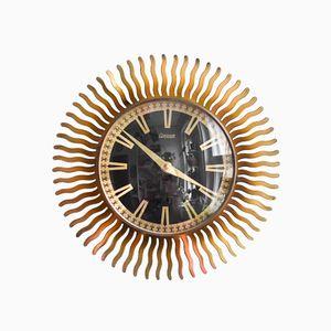 Brass Sunburst Wall Clock from Condor, 1960s