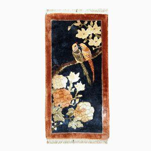 Vintage Handmade Silk Chinese Rug, 1980s