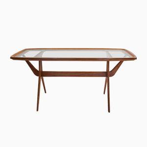 Kleiner Mid-Century Tisch aus geätztem Glas, 1950er