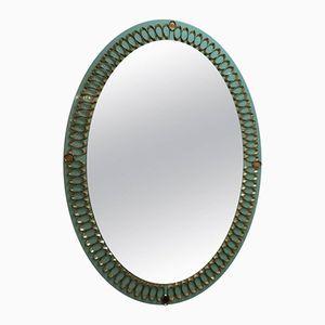 Italian Opaline Glass and Brass Mirror, 1950s
