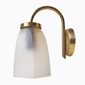 Lampada da parete vintage in ottone e vetro satinato di Lyfa, Danimarca