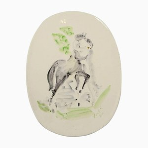Ceramic Plate by Marcel Vertès for Vallauris, 1950s