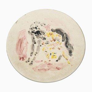 Ceramic Dish by Marcel Vertès for Tapis Vert Vallauris, 1950s