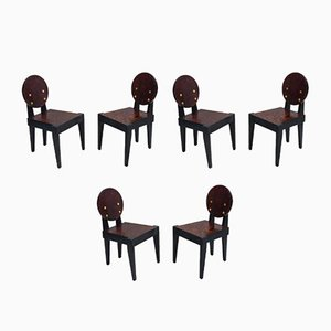 Oregon Pine Chairs by André Sornay, 1930s, Set of 6