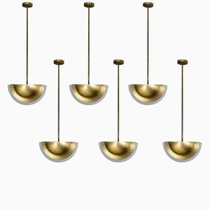 Gold Brass & Frosted Glass Pendants by Genet & Michon, 1940s, Set of 6