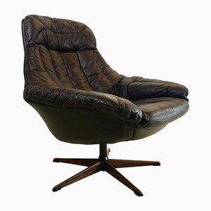 Sedia girevole in pelle di Henry Walter Klein per Bramin, anni '60