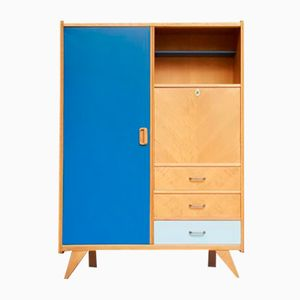 Wardrobe in Oak with Gray & Blue Elements and Compass Feet