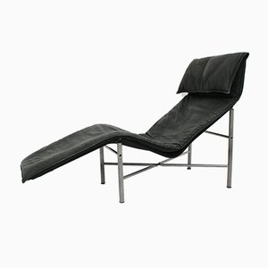 Black Leather Chaise Longue by Tord Bjorklund, 1970s