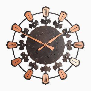 German Sunburst Copper Wall Clock, 1960s