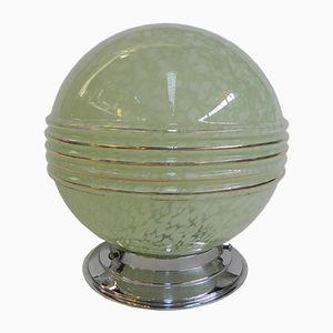 Französische Grüne Deckenlampe, 1930er