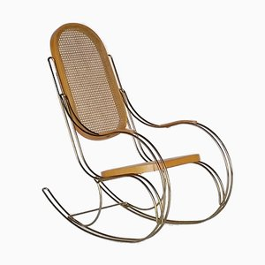 Metal & Cane Rocking Chair, 1970s