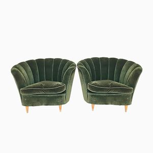Green Velvet Armchairs by Guglielmo Ulrich for Saffa, 1940s, Set of 2
