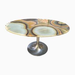 Tavolino da caffè in alluminio e onice, Italia, anni '60