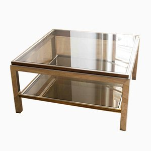 Chrome, Brass, and Smoked Glass Coffee Table by Willy Rizzo, 1970s
