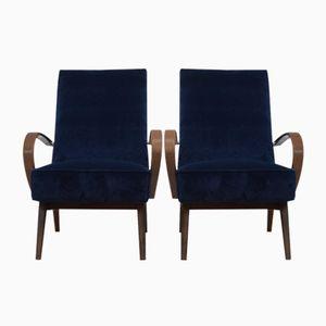 Vintage Velvet Czech Lounge Chairs by Jindrich Halabala, 1950s, Set of 2