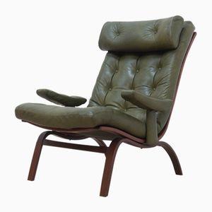 Mid-Century Swedish Leather & Rosewood Armchair from Göte Möbler, 1960s