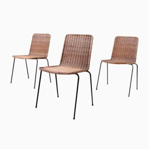 Vintage Bast Chairs, 1960s, Set of 3
