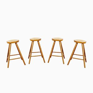 Vintage Solid Wooden Stools, Set of 4