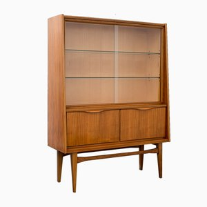 Glass & Walnut Veneer Display Cabinet, 1960s