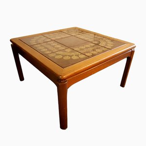Brown Patterned Tiled Coffee Table, 1970s