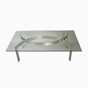 Tavolino da caffè in metallo spazzolato e vetro di Paul Legeard, anni '70
