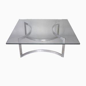 Tavolino da caffè in acciaio cromato e vetro di Dassas, 1963