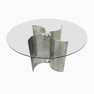 Italian Stainless Steel and Glass Dining Table, 1970s