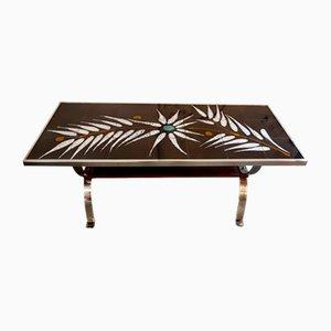 Tavolino da caffè con piastrelle raffigurante una felce, anni '60