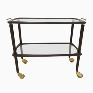Italian Beech, Brass, & Glass Serving Cart, 1960s