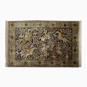 Persischer Teppich aus Seide mit Jagdszene, 1950er
