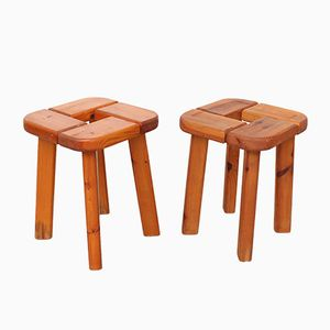 Vintage Finnish Solid Pine Sauna Stools, 1970s, Set of 2