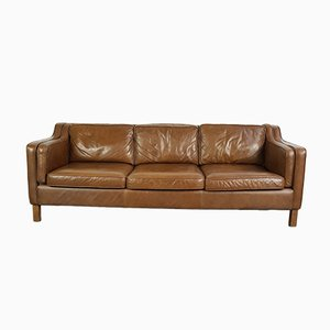 Vintage 3-Seater Brown Leather Sofa
