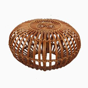 Rattan Lobster Pot Footstool by Franco Albini for Vittorio Bonacina, 1950s