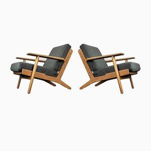Dänische Mid-Century GE-290 Sessel mit Eiche Gestell von Hans J. Wegner für Getama, 2er Set