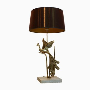 Sculptural Gilt Metal and Travertine Peacock Table Lamp, 1970s