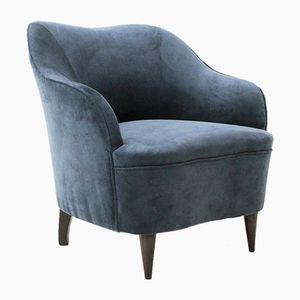 Italian Blue Velvet Armchair, 1950s