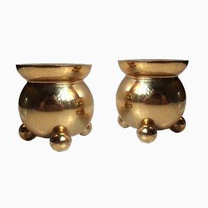 Vintage 24 Karat Vergoldete Kerzenhalter von Hugo Asmussen, 1960er, 2er Set