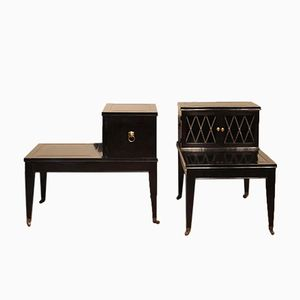 Ebonized Bedside Tables, 1940s, Set of 2