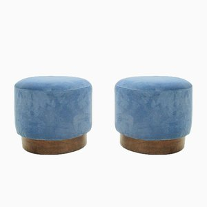 Blue Velvet Ottomans, 1940s, Set of 2