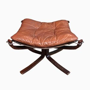 Vintage Falcon Ottoman in Camel Leather and Rosewood by Sigurd Ressell