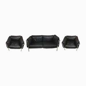 Vintage Leather Living Room Set by Le Courbusier for Alivar, 1980s