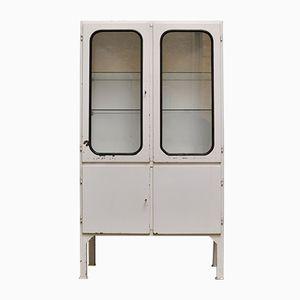Mobiletto per medicinali vintage in vetro e ferro, anni '70