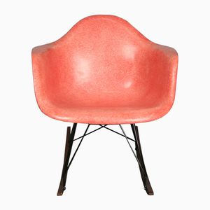 Mid-Century RAR Red Orange Summit Plastic Rocking Armchair by Charles & Ray Eames for Herman Miller